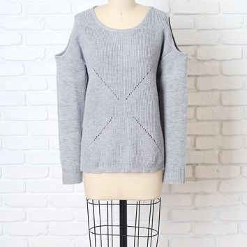 Gray Knit Cold-Shoulder Sweater