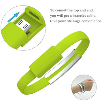 Mini Short Flat Bracelet Micro USB 2.0 Sync Data Charger Cable for Android / iOS