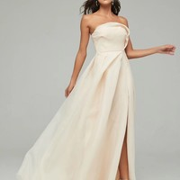 Ivory Satin Strapless Pleated Gown