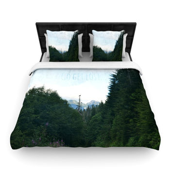"Robin Dickinson ""Go Get Lost"" Forest Green Woven Duvet Cover"