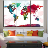 Canvas Print WORLD MAP Driwing Watercolor   - Watercolor World Map 3 Piece Canvas Art Print - Ready to Hang - Colorful World Map