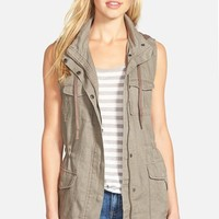 Women's Gibson Linen Utility Vest with Knit Hood,