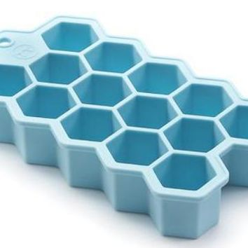 Outset Hex Silicone Ice Cube Tray and Chocolate Baking Mold - Large Hexagonal Cubes