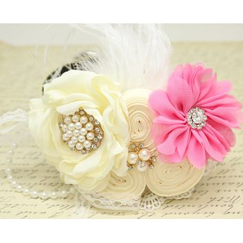 Ivory Pink Flower dog collar, Pearl, beaded, feather flower attached to Ivory, Champagne, Black, Orange, lilac or Gray leather collar