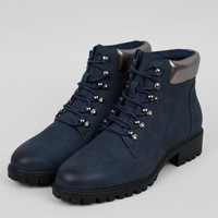 Navy Metallic Trim Lace Up Boots | New Look