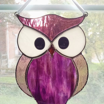Owl Stained Glass Suncatcher - Purple Glass Owl - Bird Ornament - Window Decor - Nature Decor - Housewarming Gift - Birthday Gift