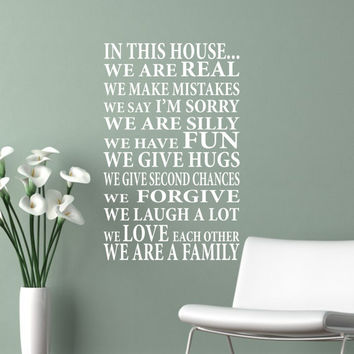 Wall Decal In This House...We are Family - Vinyl Lettering - Vinyl Decal - Vinyl Wall Art