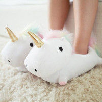 2017 Winter Warm Indoor Slippers Cute Cartoon Plush Unicorn Slippers for Grown Ups White/Black Unisex Home Slippers 1027W