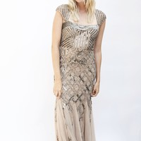 Golden Glamour Beaded Evening Gown