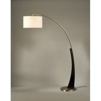 NOVA Lighting 2110003A Plimpton Dark Brown and Brushed Nickel One-Light Arc Lamp with White Linen Shade