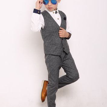 Fengchengjize Formal Tuxedo Set Toddlers Solid Suit Set for Weddding School Shows Party Jacket Waistcoat Pants 3 Pcs Grey 12