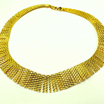 MILOR Diamond-Cut Cleopatra Choker Yellow Gold over Sterling Silver 925 Necklace