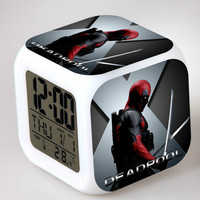 Deadpool Digital 7 Color Changing Alarm Clock Night Light Clocks