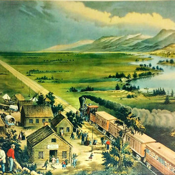 Currier and Ives F. F. Palmer, by J. M. Ives (1824-1895)Across the Continent: Westward the Course of Empire Takes Its Way Lithograph