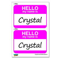 Crystal Hello My Name Is - Sheet of 2 Stickers