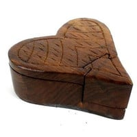 Handcrafted Sheesham Wood Heart Puzzle Box - Noahs Ark