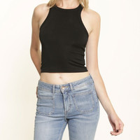 Black High Neck Crop Top