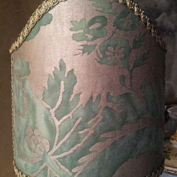 Clip-On Shield Shade Fortuny Fabric Green & Gold Olimpia Pattern Mini Lampshade - Handmade in Italy