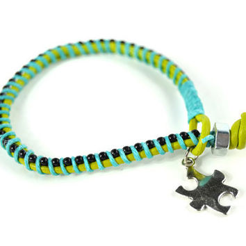 Charity Bracelet, Leather Bracelet with Autism Puzzle Piece Charm, Layering Puzzle Piece Charm Bracelet, Single Wrap Bracelet