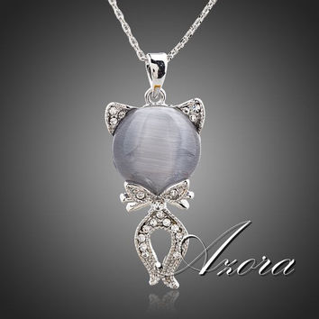 AZORA The Gray Cat Platinum Plated Stellux Austrian Crystal Jewelry Pendant Necklace TN0103
