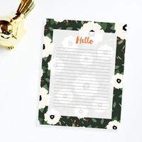 """INSTANT DOWNLOAD -  Green floral printable letterhead 8.5x11"""" / print from home letterhead / writing / letterhead design / stationary"""