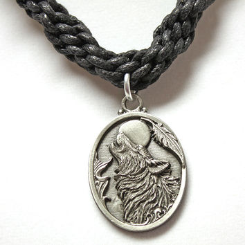 Wolf Howling Pewter Pendant Woven Necklace
