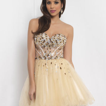 Champagne and Bronze Corset Style Strapless Homecoming Dress - Unique Vintage - Homecoming Dresses, Pinup & Prom Dresses.