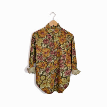 Vintage 90s Autumn Floral Boy Shirt by Banana Republic - women's xs