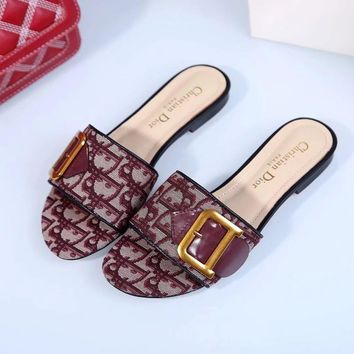 Dior Quake Oblique Canvas embroidered jacquard letters logo series sandals-3