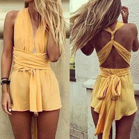 Yellow Sleeveless Criss-Cross A-Line Dress