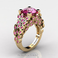 Art Masters Nature Inspired 14K Yellow Gold 3.0 Ct Pink Sapphire Engagement Ring Wedding Ring R299-14KYGPSS