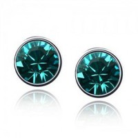 Simple Round  Sparkling Crystal Stud Earrings R028-14