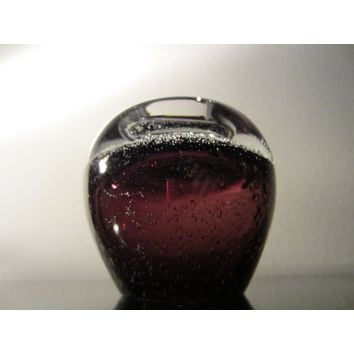 Thomas Webb Tealight Votive Eggplant Glass Candle Holder Controlled Bubbles