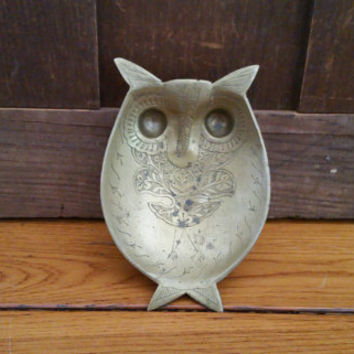 Vintage Etched Brass Owl Trinket Tray Made in India