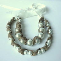 Pearls covered in Linen - Linen Necklace