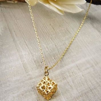 Women Fashion Jewelry 3d Heart Cube Pendant with Necklace Hearts Love Valentines