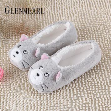 Womens New Warm Flats Soft Sole Indoor Floor Animal Shape Cows Flannel Home Slippers