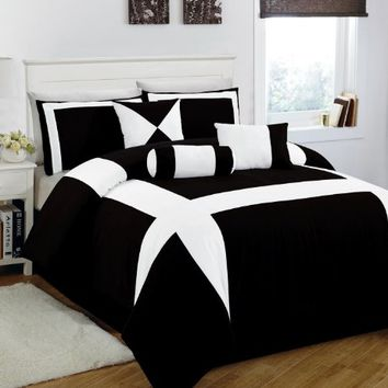 7 Piece King Jefferson Black and White Comforter Set