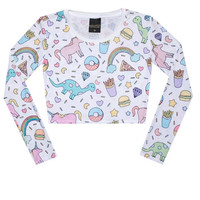 UNICORN CROP TOP long sleeve tank t shirt womens ladies girls top tumblr hipster grunge retro vtg indie boho swag color cute goth donuts