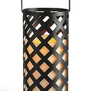 """12"""" Black Metal Criss Cross Lantern with Bisque LED Lighted Flameless Indoor-Outdoor Pillar Candle"""