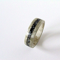 Wooden Harewood ring with snowflake obsidian inlay Bentwood ring