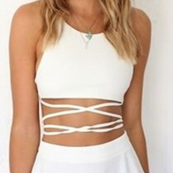 Cupshe Like an Angel Solid White Crop Top Skater Dress