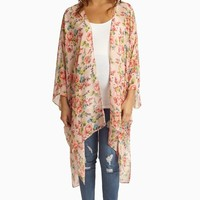 Pink Multi-Color Floral Sheer Maternity Maxi Cardigan