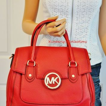 Michael Kors Margo Scarlet Red Large Shoulder Bag Satchel Purse Tote