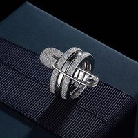 Luxury New High Quality 925 Sterling Silver Safety Pin Ring Cubic Zirconia Ring