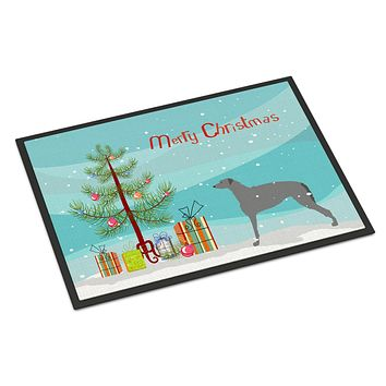 Scottish Deerhound Merry Christmas Tree Indoor or Outdoor Mat 24x36 BB2914JMAT
