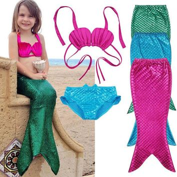 DKF4S 3Pcs New Kids Girls Mermaid Tail Swimmable Bikini Set Swimwear Swim Costume 2017 New Children Bikinis Set