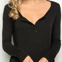 Black Long Sleeve Knit Tee