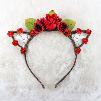 Blood Red Floral Lace Cat Ears - Flower Lace Cat Headband - Cat Ears Headband - Kitty Ears - Coachella Festival - Kitten play Ears - Petplay