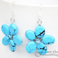 Turquoise Earrings Flower Drop Shape Silver Earring Gem Stone Handmade by Flower GemStone